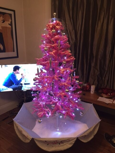 pink xmas tree 6ft from clintons with automatic snow falling onoff switch - Light Pink Christmas Tree