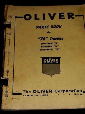 Oliver Parts Book 70 Tractors Row Crop Standard Industrial