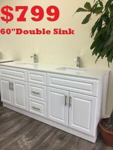 "BATHROOM VANITY 60"" DOUBLE SINKS $ 799.      24""FROM $69"