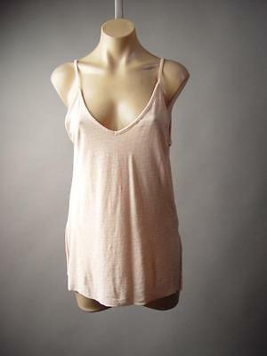 (Pastel Pink Modal Cotton Strappy Deep V Back Long Cami Top 195 mv Shirt S M L)