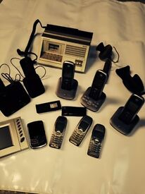 Phones bundle including 3 Nokia, 1 Blackberry, house phones, car cradle and other material