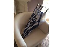 Large smart blue and white Umbrellas for Events, Festivals, Shows, Weddings, Golf