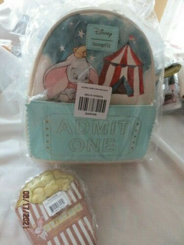 Loungefly - Disney Dumbo mini BACKPACK+Popcorn Bag Coin Purse NWT FAUX LEATHER