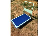 Platform hand trolley, collapsible with wheels