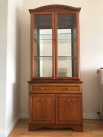Walnut Display cabinet. Excellent condition.