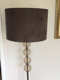 M&S floor lamp with brown suede effect shade