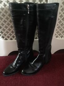 Dune Black Patent Boots