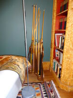 Corner Pool Cue Rack with 6 Cues and Bridge Stick