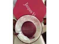 Ladies Jacques Vert Wedding Hat - pink and cream - wide brim - as new