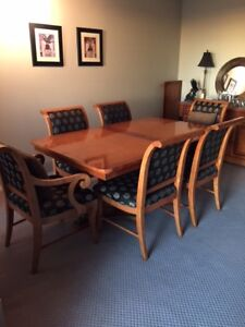 Dining Room Table including Hutch and Glass Topper