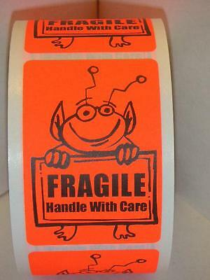 Fragile Handle With Care Cute Red Alien Holding Sign 2x3 Sticker Label 250rl