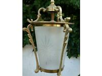 Victorian Hall or Porch Lamp in brass/bronze and eiched glass