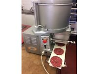 ABM industrial burger machine, foot pedal operated. Stainless steel. Good condition.