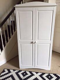 Antique white painted wood wardrobe