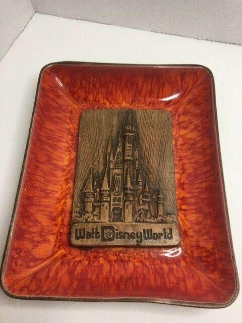 VINTAGE Walt Disney World Ashtray Candy Dish Ceramic Red Glaze Castle Theme