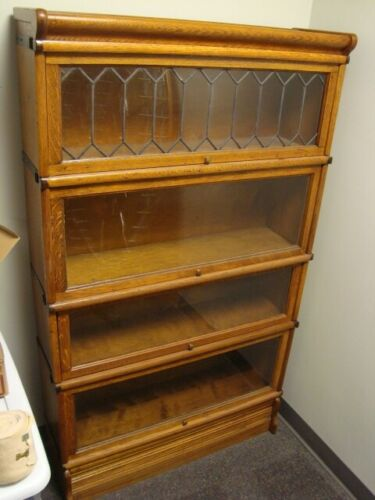 Circa 1920s 4-Stack Oak Globe Wernicke Barrister Book Case w/Leaded Glass