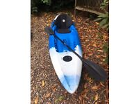 Perception Scooter sit on kayak blue/white, good condition with seat and paddle