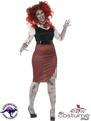 16-PLUS SIZE 30 Zombie School Girl Uniform Halloween Costume - Plus Size Womens Zombie Costume