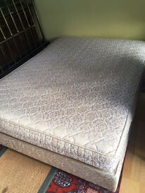 Golden and ivory damask-covered double bed with matching mattress £80