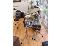 Pearl World Series Drum Kit - entire semi-pro kit, cymbals, hardware, most cases +