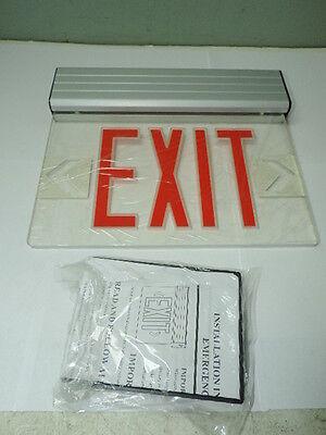Red Led Emergency Exit Light Sign Ceiling Edge Lit Battery Backup Alum. Single