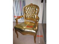 FRENCH LOUISE DAMASK GOLD COLOR WOOD ARMCHAIR