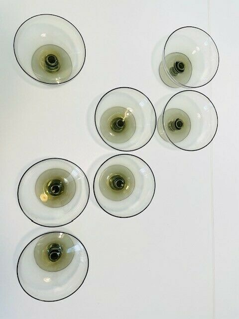 7 RUSSEL WRIGHT American Modern SHERBET GLASSES Gray Smoke MORGANTOWN MCM