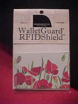 Rogue One Walletguard Rfid Credit Card Wallet Protector Sleeve Poppy Pattern