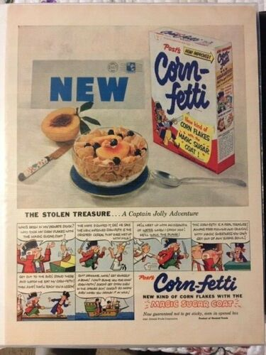 1953 AD CORN-FETTI GENERAL FOODS CORP. Capt. Jolly adventure CARTOON