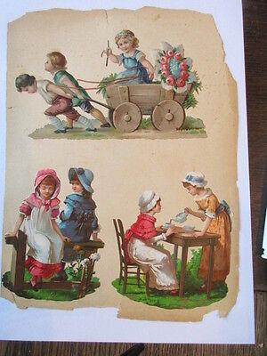 3 wunderschöne alte XL Präge Oblaten Glanzbild Kinder um 1890 ca.