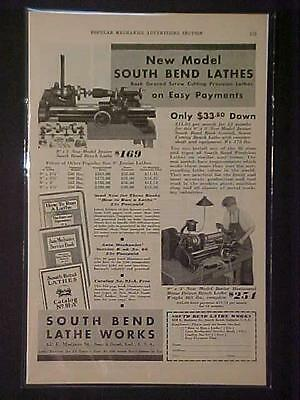 Old Vintage South Bend Machinist Machine Lathe Art Print Ad Rare Antique 1931