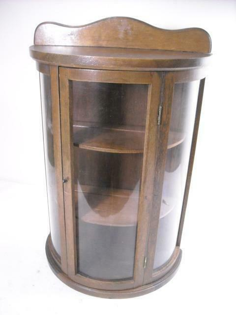 VTG. BUTLER CURVED GLASS CURIO DISPLAY CASE WALL HANGING 3 SHELF WOOD CABINET