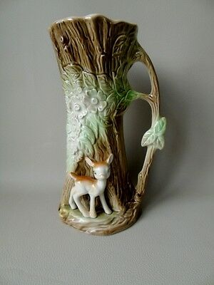 1960's Eastgate Pottery Tree Jug Vase With Applied Fawn - Woodland Decoration