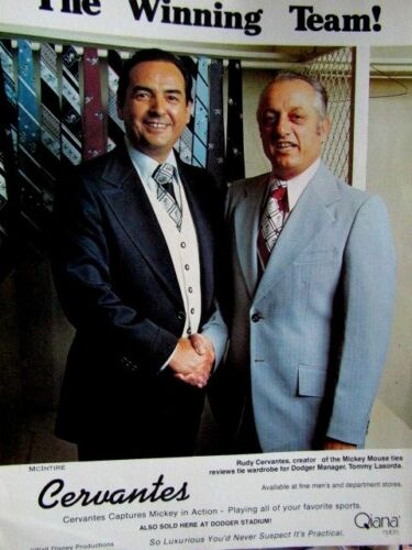 "1977 Rudy Cervantes-Tommy Lasorda Los Angeles Dodgers Original Print Ad 8.5x11"""