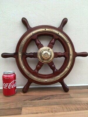 VINTAGE SHIPS WHEEL.  BOAT  YACHT WOODEN & BRASS LIGHT VARNISH MARINE NAUTICAL, used for sale  Shipping to Ireland