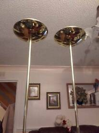 3 brass effect uplighters