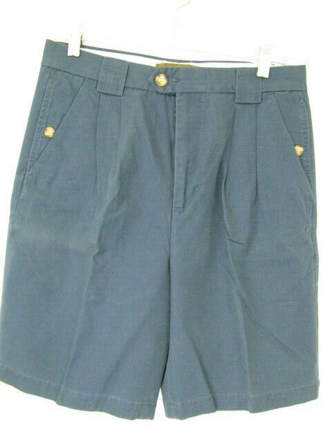Men s Clearwater Navy 100 Cotton Pleated Dress Shorts Size 32 - $2.99
