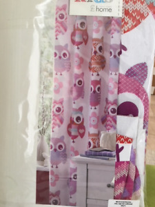 "NEW Pink Owl Curtains 66x72"" 2 panels"