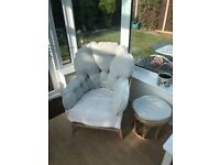 Cane Settee Armchair and footstool for sale