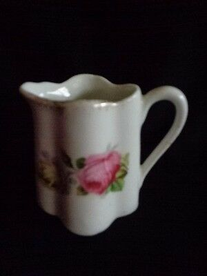 Bavaria CREAMER Pitcher Floral Rose w Gold Trim Transferware c.1910-30