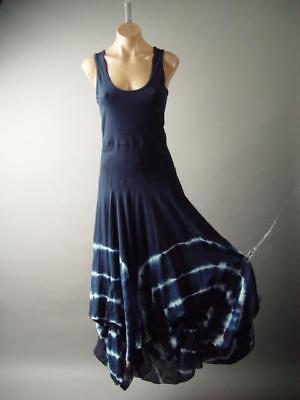 Gypsy Maxi - Dark Blue Tie-Dye Medieval Gypsy Boho Pagan Bubble Skirt Maxi 283 mv Dress S M L