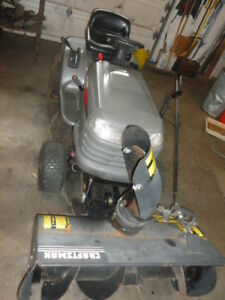 craftsman 18.5 Hp riding mower with snowblower