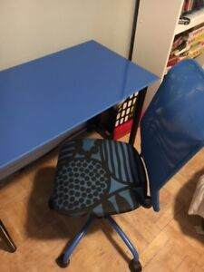 Blue IKEA desk, and chair.