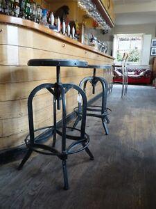Bar Stool - Urban Vintage Industrial Retro Adjustable Height (66 - 83cm)