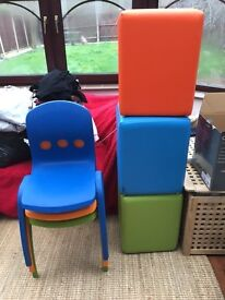 Colourful chairs and matching pouffs bright colours, washable ideal for childrens room