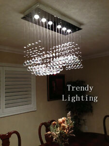 Cheap special sale crystal wave rectangular chandelier light
