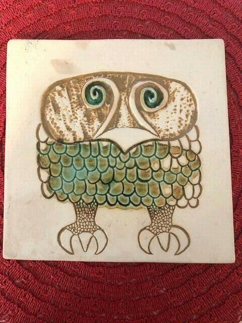 Vintage MCM David Gil Bennington Potters Abstract Owl Tile Wall Plaque #1536