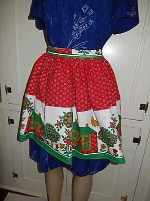 Used, Vintage Half Apron - Colorful Christmas Red  White & Green Birds Houses & Trees for sale  Shipping to Canada