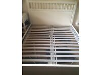 White wooden IKEA king size bed frame - good condition