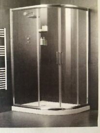 Shower unit, 1200 x 900mm offset quadrant enclosure polished silver effect